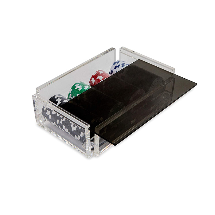 Acrylic Poker Chip Holder with Lid Black