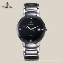 2016 neueste beliebte Herrenmode Keramik Uhr mit Steinen 72111