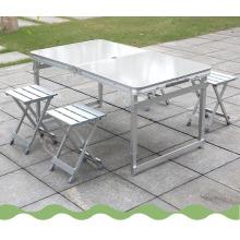 Atacado de alta qualidade liga de alumínio dobrável quadro de mesa mesa de acampamento portátil e cadeiras set