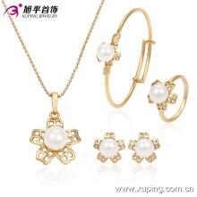 Moda banhado a ouro pérola flor imitação bebê conjunto de jóias 63531