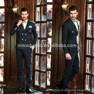 Exquisite 2014 Blue Stripe Wedding Suits For Men With Two-Row Button Accent Headline-Grabbing Business Suits Latest Style NB0561