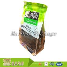 Sacos inferiores quadrados laminados personalizados de Pacakging do material do quadrado do bloco liso de Bopp do alimento com reforço lateral