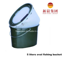 5 Liters Oval Shape Green Plastic Fishing Bucket