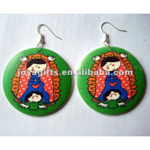 Color painting wooden earring