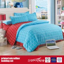 Juego de cama de microfibra estampada combinada de tela cepillada azul