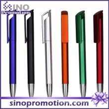 Long Clip Advertising Ball Pen Metal Luster Plastic Ballpoint Pen