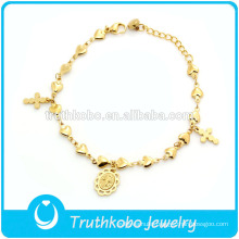 TKB-JB0079 Religious salable gold 316L stainless steel bracelets with polished heart chain and casting cross Virgin Mary