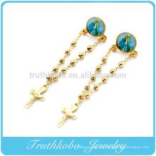 TKB-E0023 chapelet de style catholique chapelet de bijoux avec Vierge Marie et croix en acier inoxydable 316L boucles d'oreilles pendantes en or pour femmes