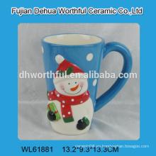 Taza de agua de cerámica de Navidad del muñeco de nieve de alta calidad