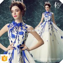 Vestido de Jantar Elegante Lace Appliqued Tulle Blue Long Evening Dress 2016 Vestido de Noite Azul Elegante