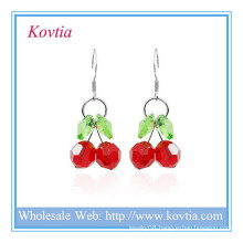 China wholesale sterling silver jewelry crystal cherry shape pendant earring