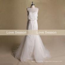 MRY068 Spaghetti straps mermaid ruched organza real lace wedding dress bow two piece wedding dresses bridal wedding dress gown