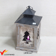 French Country Wooden Bark Candle Holder