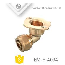 EM-F-A094 90 degree manguera de codo latón conector de brida de compresión