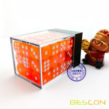 Bescon 12mm 6 Sided Dice 36 in Brick Box, 12mm Sechs Sided Die (36) Block of Dice, Translucent Orange mit weißen Pips