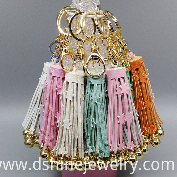 PU Leather Tassel Cute Key Chains With Stars
