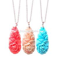 Fashion Bohemian Stone Flower Pendant Necklace, Boho Chic Flower Necklace
