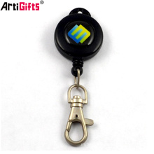 Promotional retractable plastic badge holder with metal dog hook