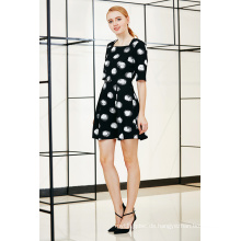 Neue Mode Kleid Schrank Box Falten Swing Kleid in Polka DOT Druck Stoff