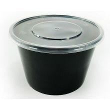 500мл, 650мл, 750мл, черный круглый Устранимый пластичный контейнер еды с крышкой