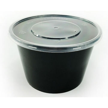 500ml, 650ml, 750ml, Black Round Disposable Plastic Food Container with Lid