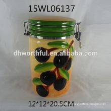 Venta al por mayor cerámica envase sellado con oliva diseño para la alimentación