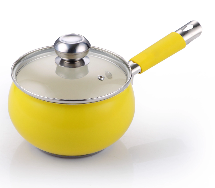 Yellow single handle apple-shaped soup pot