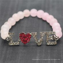 Rose Quartz 8MM Perles rondes Stretch Gemstone Bracelet avec Diamante Alloy Love Piece