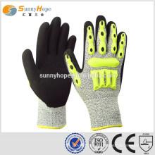 Sunnyhope nitrile sandy TPR luvas de impacto mecânico