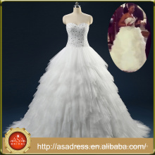 ASAM-03 Real Photos Tiered Ruffles Ball Gown Off the Shoulder Luxury Crystal Beaded Beading Wedding Dress 2016