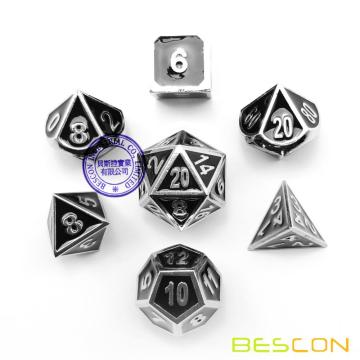 Bescon Deluxe Creative Shiny Chrome and Black Enamel Solid Metal Polyhedral Role Playing RPG Game Dice Set of 7