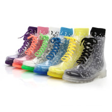 Hot White Rubber Klar Transparent Ankle Hightop Lace Up Flache Rain B-817