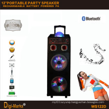 12′′*2 Mobile Party DJ LED Karaoke Trolley Bluetooth Active Speaker