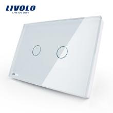 Livolo US Touch Light Switch 110 ~ 250 В 2 банды Управление освещением со светодиодным индикатором электрического выключателя