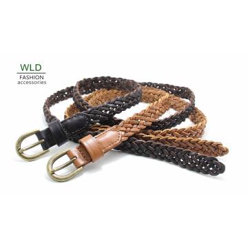 Fashion Basic Braided Genuine Top Leather Lady Belt Lky1178
