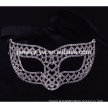 fashion metal silver plated crystal masquerade ball mask for party