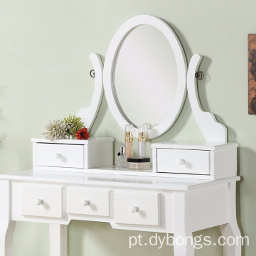 Dressing Wood Make-Up Vanity Table and Stool Set, White