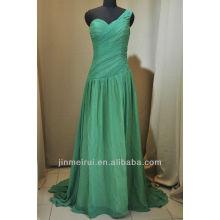 ¡¡¡Reloj!!! ¡¡¡Foto real!!! Una línea de longitud del piso un hombro gasa vestido de noche verde lima DE212