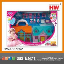 Juego de juego de interior de plástico belleza castillo de juguete para niños