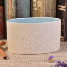 Oval Shaped Blue Glazed Interior Ceramic Candle Vessel