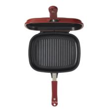 Cast aluminium fry pan 28cm diameter grill pan double side