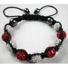 Bracelet blanc et rouge Shamballa avec perles de cristal BR44