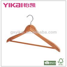 Cintre à linge en bois plat avec barre ronde