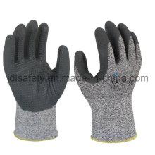 Пунктирная стойкой работы перчатку с вспененного нитрила покрытием (ND8063)