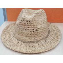 Sombrero de paja de sombrero de paja Fedora Raffia (SW-080003)