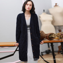 Women fashion long coat winter pure cashmere cardigan coat single breasted thick knitting overcoat for lady