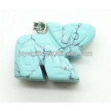 Moda azul turquesa colgante de elefante colgante de piedras preciosas semi