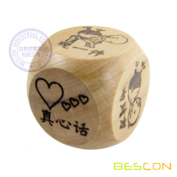 Good Quality Custom 35MM Wooden Dice with Burned Pattern