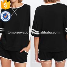Striped Tee & Contrast Binding Shorts Set Manufacture Wholesale Fashion Women Apparel (TA4119SS)
