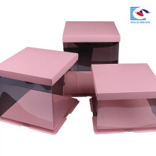 Customized Logo Food Grade Paper Square Pink Cake Paper Box With Clear Window